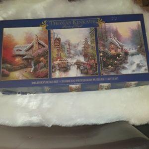 Thomas Kinkade Deluxe Three 500 piece puzzle set